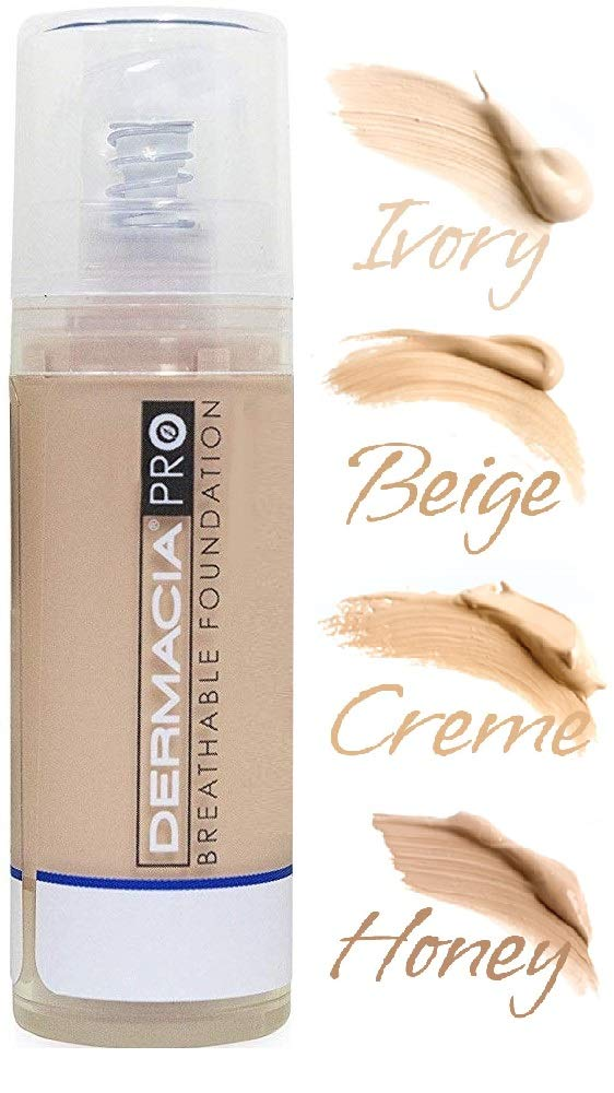 Dermacia PRO Breathable Foundation (Honey), Dr. Recommended, Hypoallergenic, Long Lasting, Soothing,Lightweight, Flawless Coverage, Oxygenating Makeup for Sensitive Skin, Acne, Rosacea, Made in USA