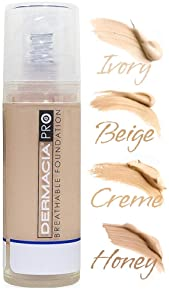 Dermacia PRO Breathable Foundation (Ivory), Dr. Recommended, Hypoallergenic, Long Lasting, Soothing, Lightweight, Flawless Coverage, Oxygenating Makeup for Sensitive Skin, Acne,& Rosacea, Made in USA
