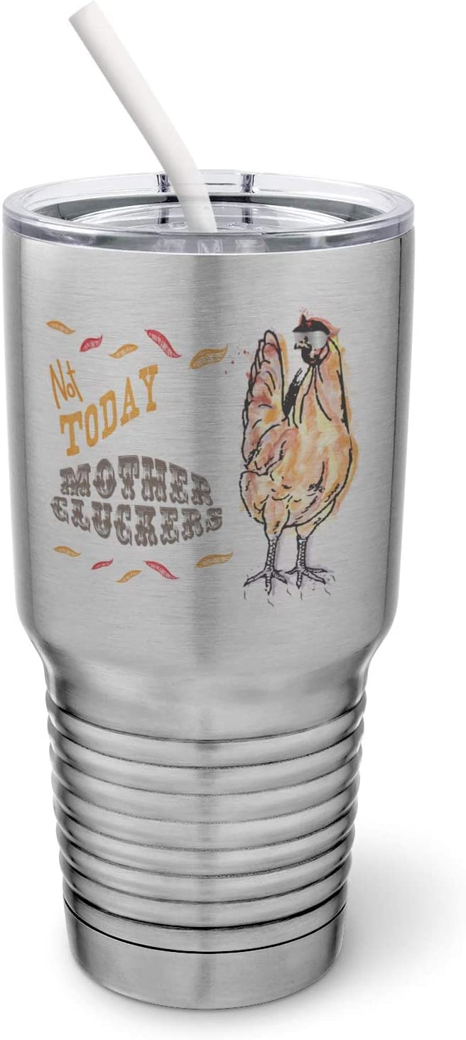 PixiDoodle Farmhouse Decor - Cussing Chicken Tumbler with Spill-Resistant Slider Lid and Silicone Straw (30 oz Tumbler, Silver)