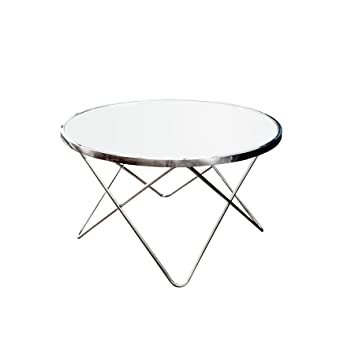 Design Couchtisch ORBIT 85 Cm Chrom Weiss Beistelltisch Tisch Wohnzimmertisch Rund Glastisch