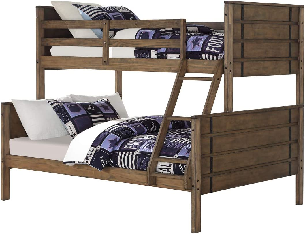 Amazon Com Donco Twin Over Full Rustic Industrial Bunk Bed Bunkbed Burnished Amber Furniture Decor