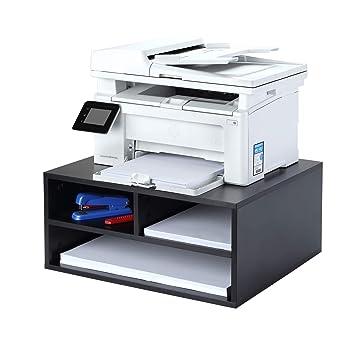 1home Soportes de Impresora/fax de Escritorio de Madera Organizadores de máquinas de Almacenamiento de Espacio de Trabajo de Dos Niveles