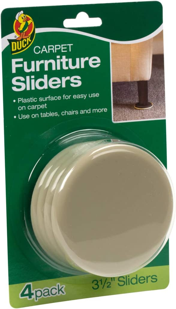 Duck Brand 284857 Plastic Carpet Furniture Sliders, 3.5 inch Width, Round, 4 Pack