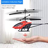 USVSU Remote Control Helicopter Flying Toys, Mini Led Rechargeable Hand Operated Drone with LED Light for Kids, Boys Girls Indoor Outdoor Games (Red)