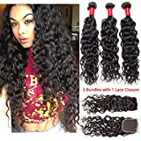 VIPbeauty Brazilian Water Wave Human Hair Weave with a Closure Free Part Lace Closure with Baby Hair (14 16 18 with 12)