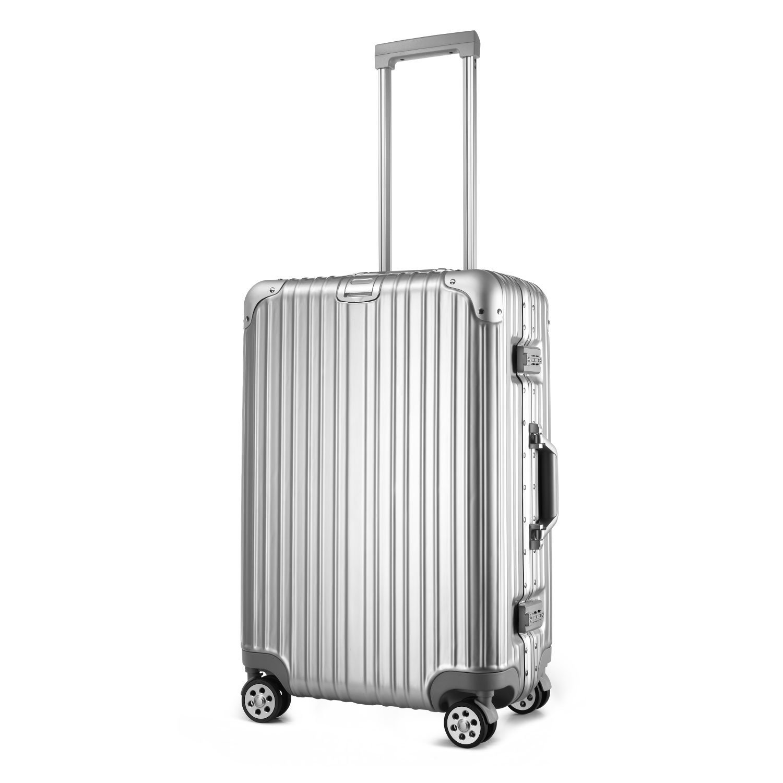 (アスボーグ) ASVOGUE スーツケース キャリーケース TSAロック 鏡面仕上げ アルミフレーム 旅行 軽量 ファスナーレス B074J6526M  シルバー S