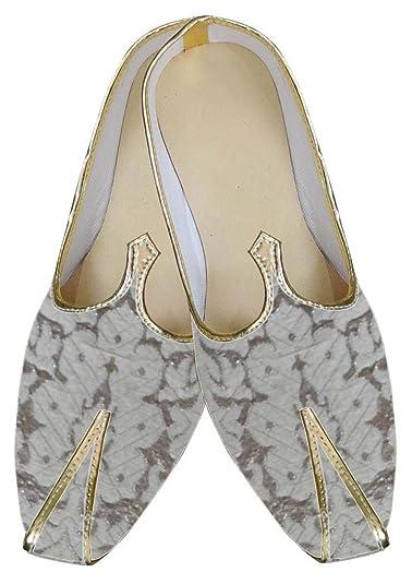 Mens Silver Brocade Wedding Shoes MJ0022