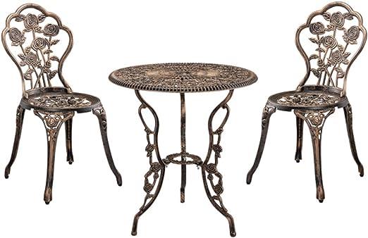 SSITG mesa + 2 sillas hierro fundido Antiguo Bronce Bistro – Juego de asiento Jardín: Amazon.es: Jardín