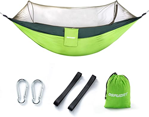 OSPUORT Outdoor camping hammock, upgraded 2-in-1, camping for trees, small objects blocking mesh, bearing 661 pounds, flip-type light portable hammock, suitable for camping, backpacking, survival, tra