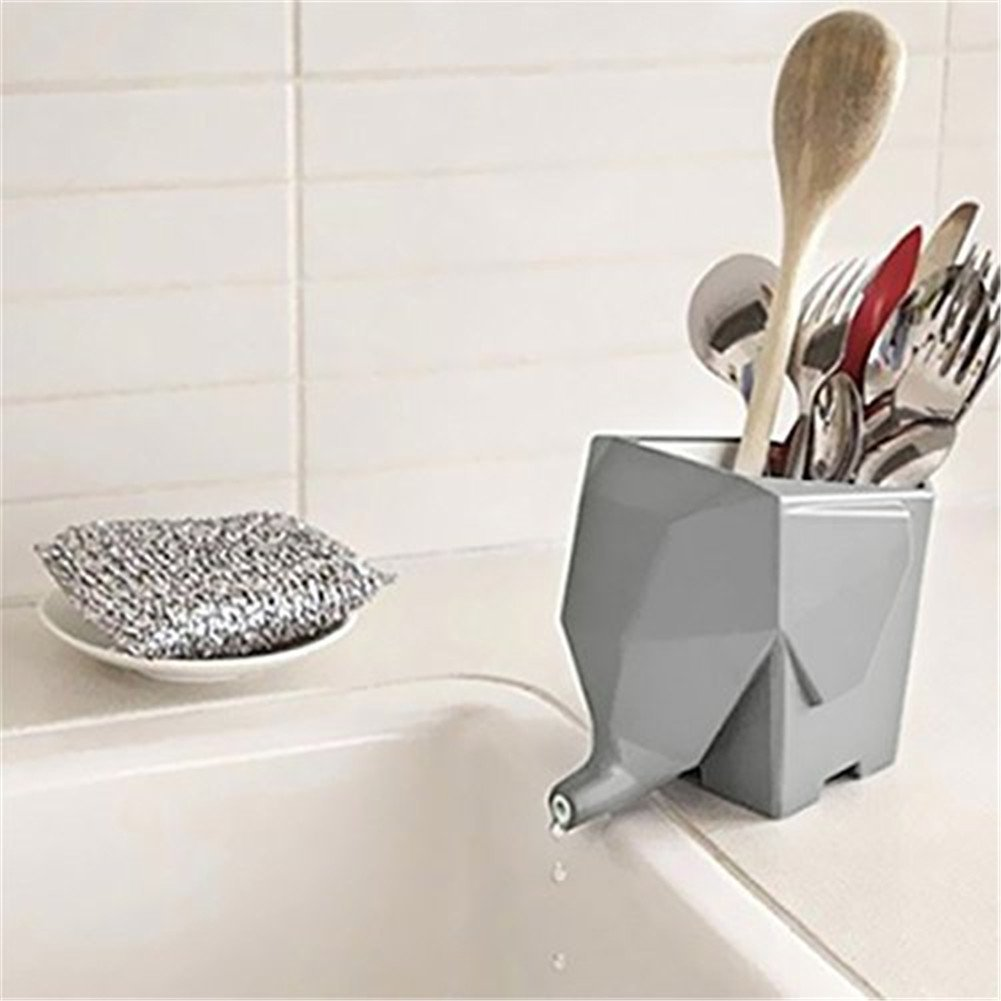 Agile-Shop Cute Elephant Design Plastic Cutlery Drainer Storage Holder Box for Home Kitchen, Bathroom, Toothbrush, Small Knife Accessories (Gray) by Agile-shop (Image #2)