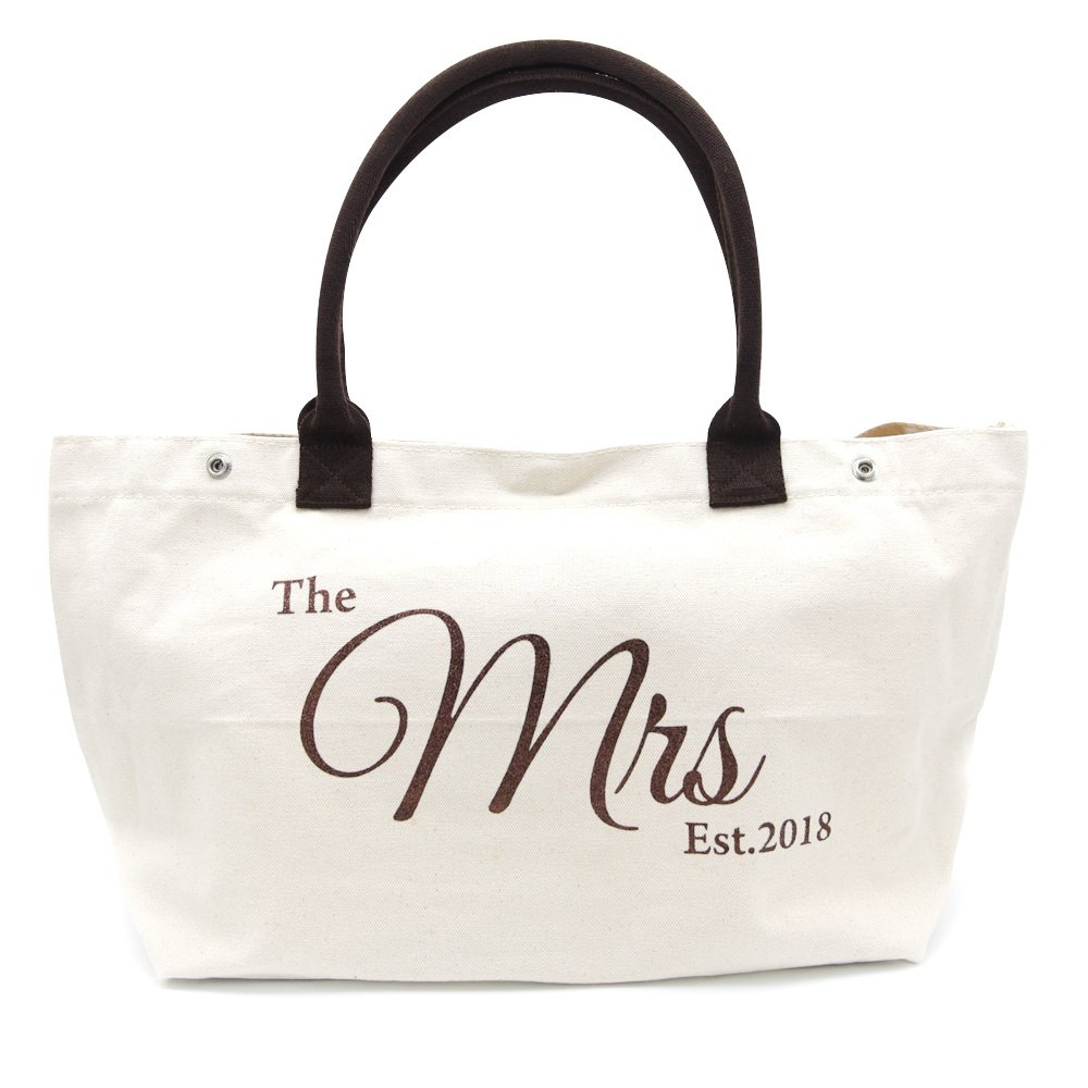 PumPumpz''Bride/Mrs'' Large Shoulder Tote Bag Natural white and glittery for Wedding Gifts (Lovely Mrs)