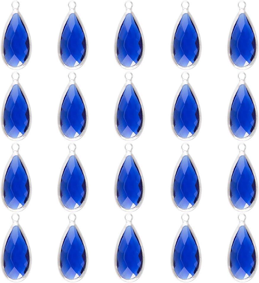 OLYCRAFT 20 Colgantes de Cristal con Forma de Gota de Agua, Abalorios de Diamantes de Imitación de Cristal En Forma de Lágrima, Chapado En Platino, Cristal Facetado, Azul