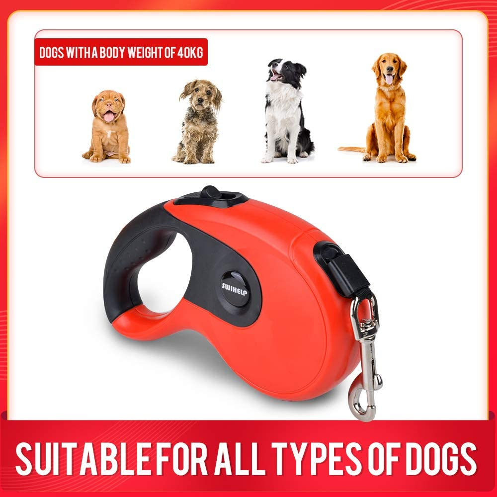 SWIHELP 16 ft Dog Leash Retractable Walking Pet Leash for Small Medium Large Dogs Up to 40 KG with One Button/&Lock System for Training Jogging