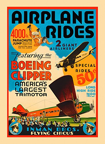 Airplane Plane Rides Boeing Clipper Parachute Flying Circus American USA Vintage Poster Repro 16