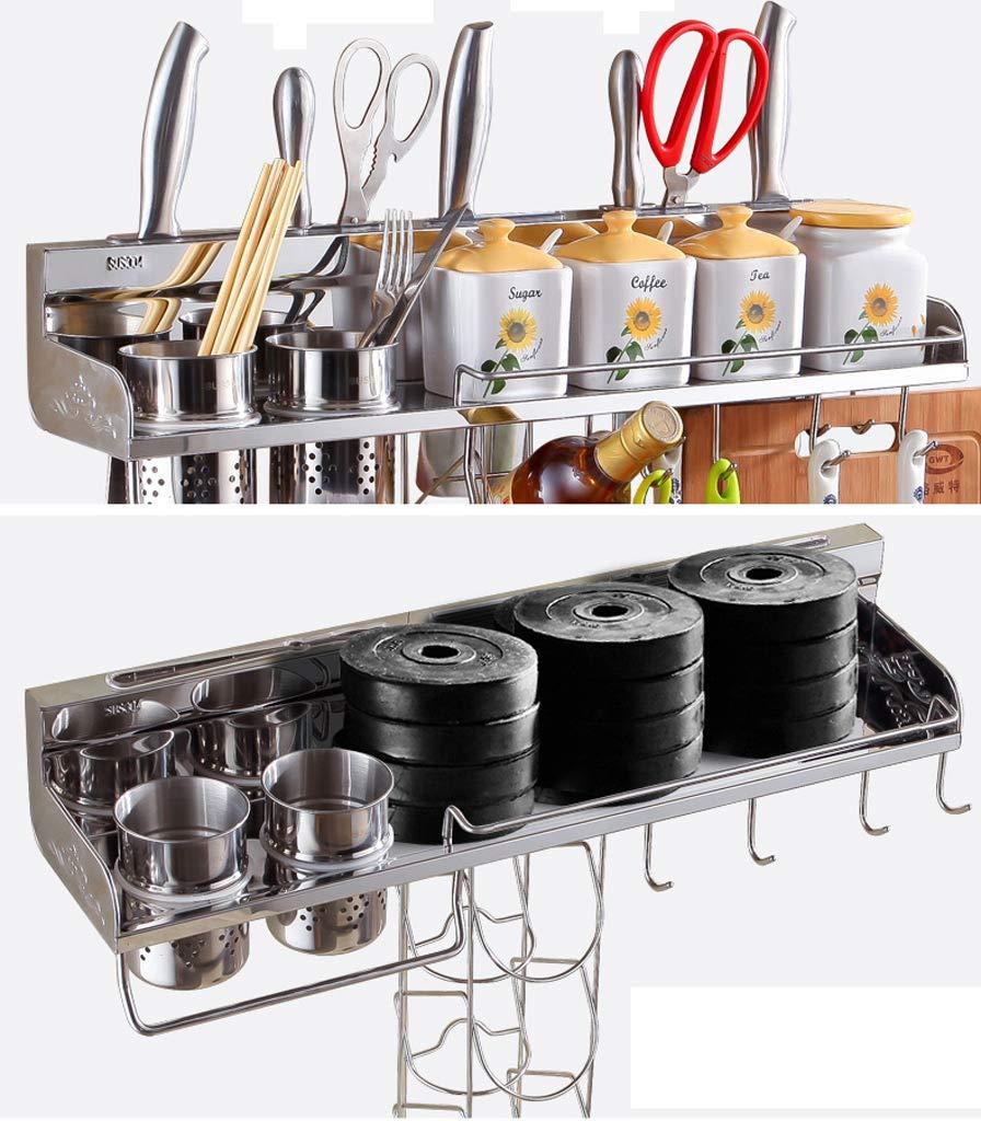 Kitchen Shelf, Multi-Function Stainless Steel Hardware Wall Hanging Kitchen Hook (40-80CM) (Color : No Hanging Basket, Size : 70CM)