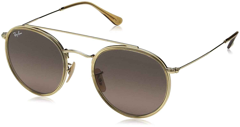 7b6eb1f0f1 Ray-Ban Round Double Bridge Sunglasses in Copper Blue Gradient RB3647N  90683F 51  Amazon.co.uk  Clothing