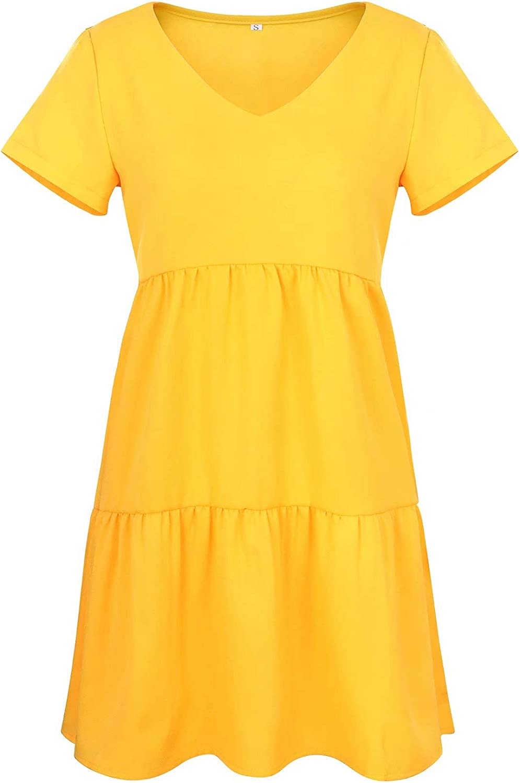 PinUp Angel Women's Short Sleeve Tunic Dress V Neck Loose Flowy Swing Shift Dresses