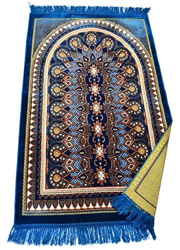 Muslim Prayer Rug – Islamic Janamaz Sajadah Namaz Sajjadah Turkish Prayer Mat Carpet (Green)