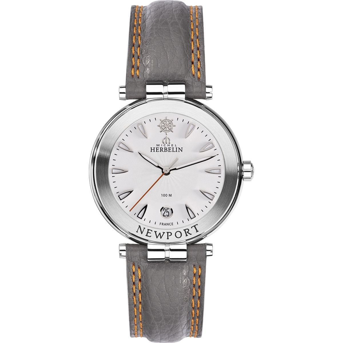 Men's Watch Michel Herbelin - 12255/11GR - Newport - White Dial - Grey Leather Band