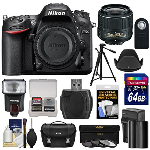 Nikon D7200 Wi-Fi Digital SLR Camera Body with 18-300mm VR Lens + 64GB Card + Case + Flash + Battery/Charger + Tripod + Kit ()