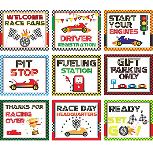 Blulu Racing Car Party Decorations, 10-11.8 Inch Laminated Racing Signs, Racing Themed Party Signs, Racing Cutouts with 40 Glue Point Dots (9 Pieces Racing Signs) ()