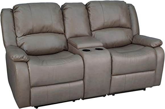 "Charles Ashton Home Collection | 70"" Double Recliner Sofa Console 