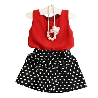 db3330ed57ee Babybekleidung,Resplend Süßes Baby Mädchen Kinder Gute Qualität  Chiffonbluse + Polka Dot Rock Zwei Stücke Festgelegt Weste Plissee Kleid  Bekleidungssets ...