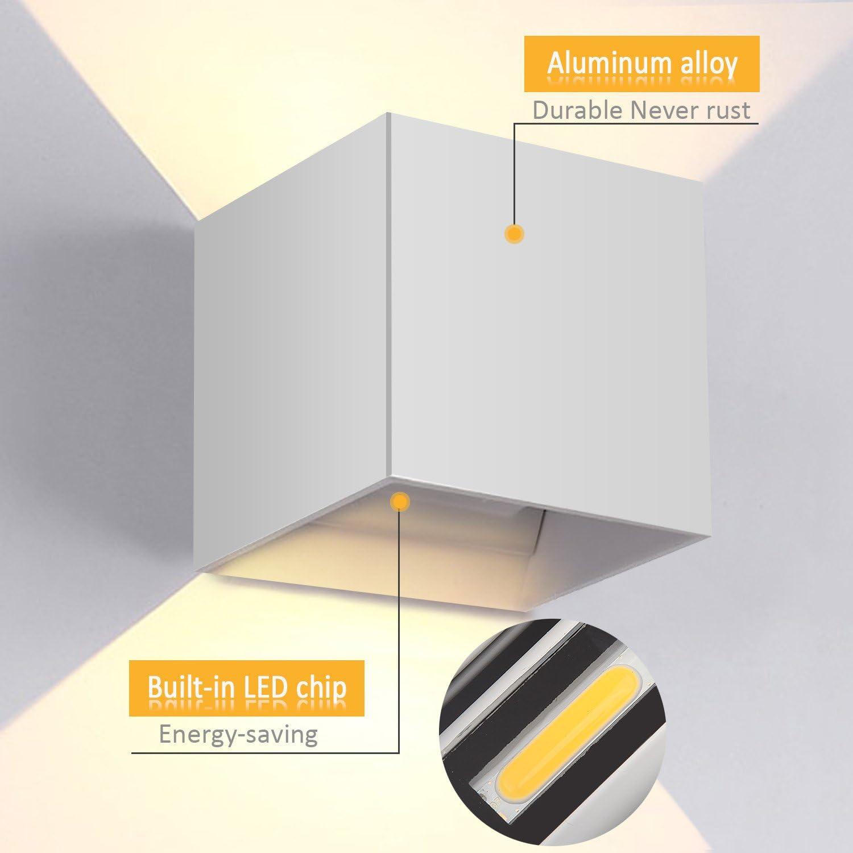 Bianco Gimify 12W LED Applique Lampade da Parete Lampada Muro Esterno//Interni IP65 3000K Bianco Caldo Classe di efficienza energetica A++