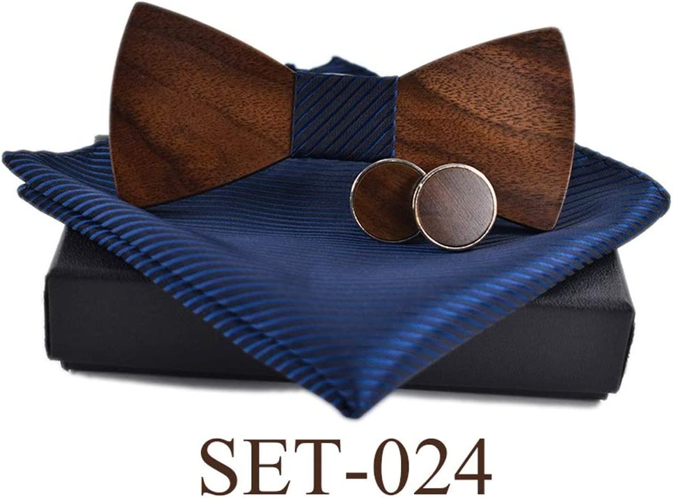 Color : 031, Size : Set AWYDHC Mens Wooden Bow Tie Set Matching Pocket Square Handmade Wood Bowtie with Box