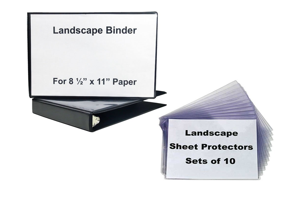 1 1/2'' Landscape Binder, Black Vinyl with 1 10 Sets of Sheet Protectors - strudy crystal clear sheet protectors to hold your text, photopraphs, music sheets in a horizontal format
