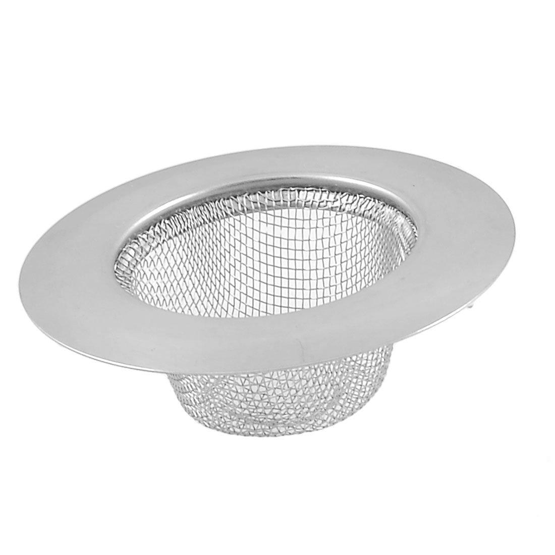 Home kitchen tono plateado acero inoxidable 7 cm Dia Lavabo Colador Sourcingmap a12102600ux0212