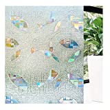 Lavao 3D No Glue Static Cling Window Film Decorative Glass Films Non-Adhesive Heat Control Anti UV 35.4 inch By 78.7 inch (90 cm x 200 cm)