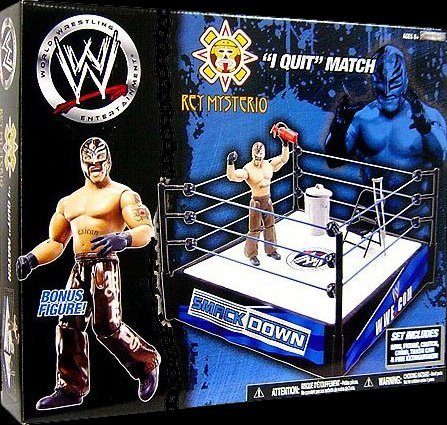 REY MYSTERIO I QUIT MATCH SPRING RING W/ WWE TOY WRESTLING ACTION FIGURE (Rey Mysterio Ring)