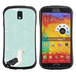 """Hypernova Slim Fit Dual Barniz Protector Caso Case Funda Para Samsung Note 3 [Modernos Ondas Arte Gaviota Blue Sea""""]"""