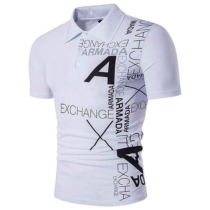 8a20050b73cfc ... Camisas Camisa De Jersey Camisa De Polo Clásico Camisa De Polo Camisa  De Hombre Y Letras De Estilo Americano Camisetas De Solapa Chicos  Amazon.es   Ropa ...