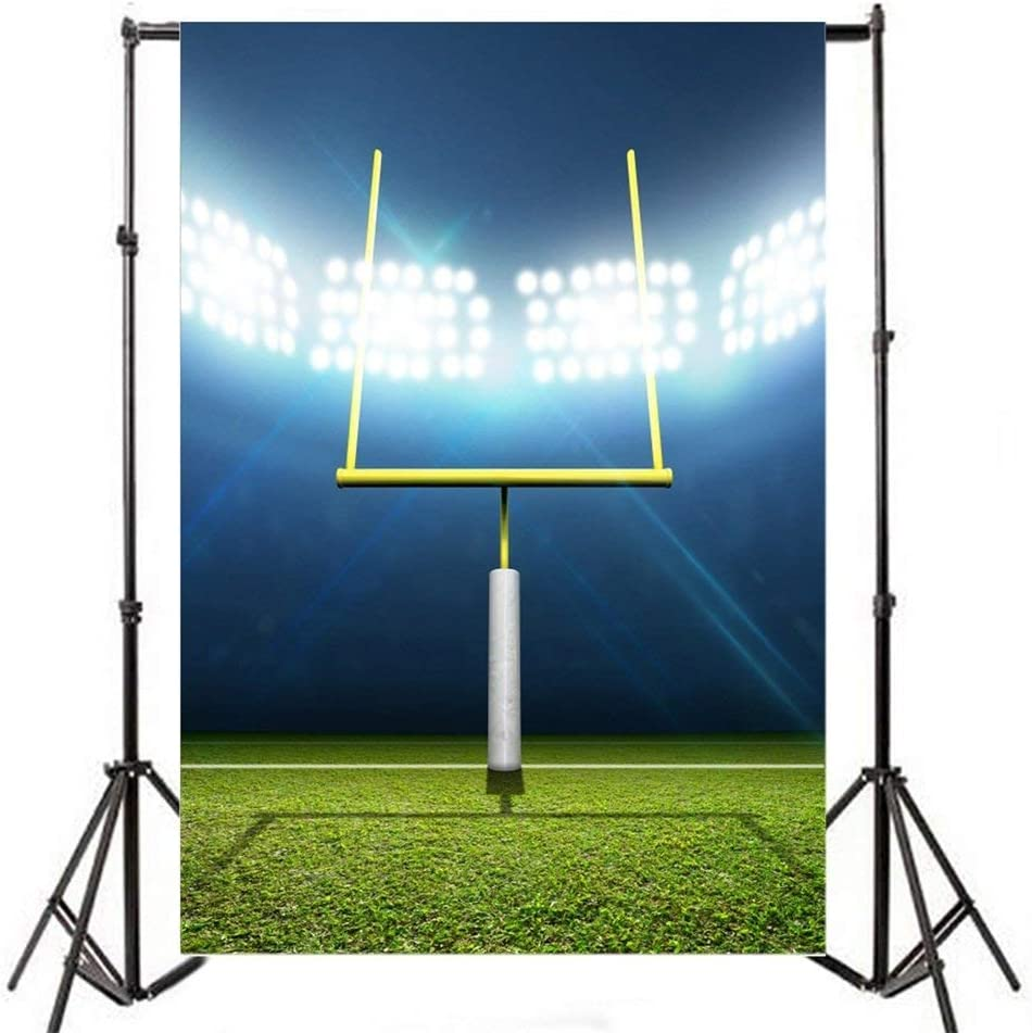 GoHeBe 5x7ft Football Stadium Night Backdrop Photography Background Football Stadium with Posts Green Grass Lighting Shiny Scene Match Sports Man Cildren Background Portrait Photo Studio Prop