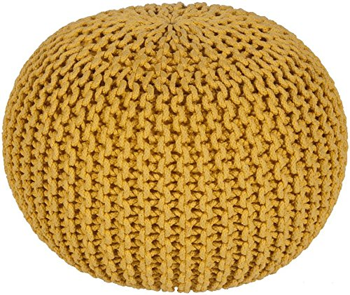 Surya MLPF-002 100-Percent Cotton Pouf, 20-Inch by 20-Inch by 14-Inch, Sunflower