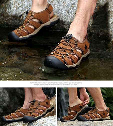 Hibote Summer Sandals Men's Leather Beach Shoes Non-Slip Outdoor Daily Casual Slippers 18051605 Light Brown iGECNvhu