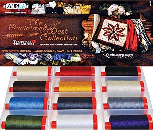 Aurifil Thread Set Reclaimed West by Judy & Judel Niemeyer 50wt Cotton 12 Large (1422 yard) Spools by Aurifil