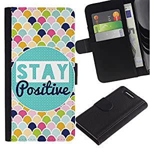 Sony Xperia Z1 Compact / Z1 Mini / D5503 , la tarjeta de Crédito Slots PU Funda de cuero Monedero caso cubierta de piel ( Stay Positive Scale Pattern Colorful)
