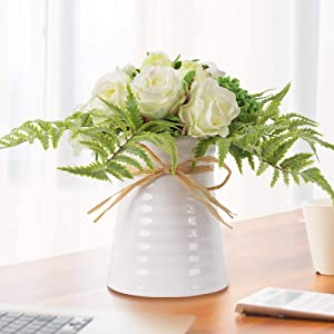 YUYAO Artificial Flowers Rose Bouquets with Vase Fake Modern Bridal Flower with Ceramic Vase for Wedding Home Table Office Party Patio Decoration (Champagne)