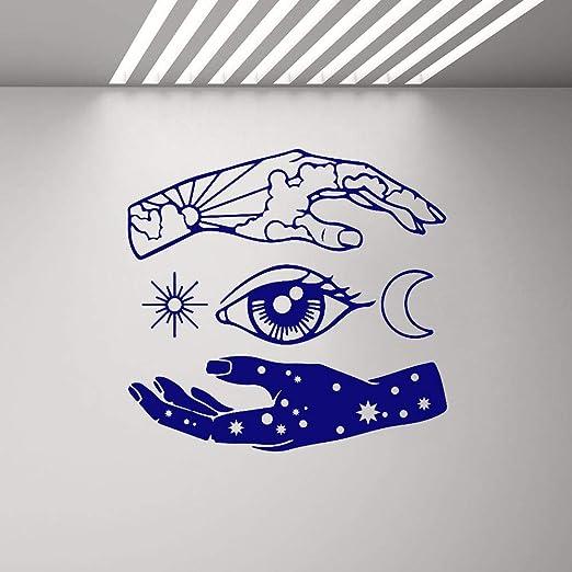 YuanMinglu Mano Sun Moon Star Eye Tatuajes de Pared Arte Abstracto ...