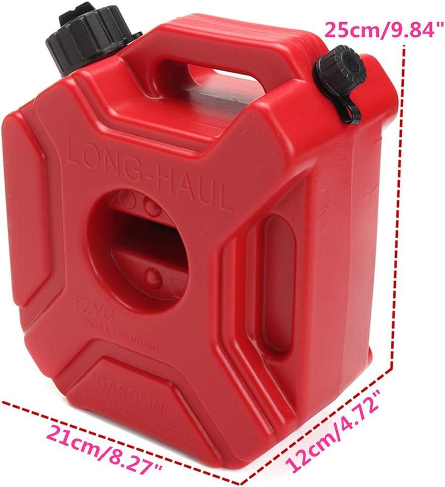 FADDR 3L R/éservoir de Carburant en Plastique avec Support de Fixation Antistatique Portable Anti-UV pour ATV UTV Moto Auto Gokart Free Size Rouge