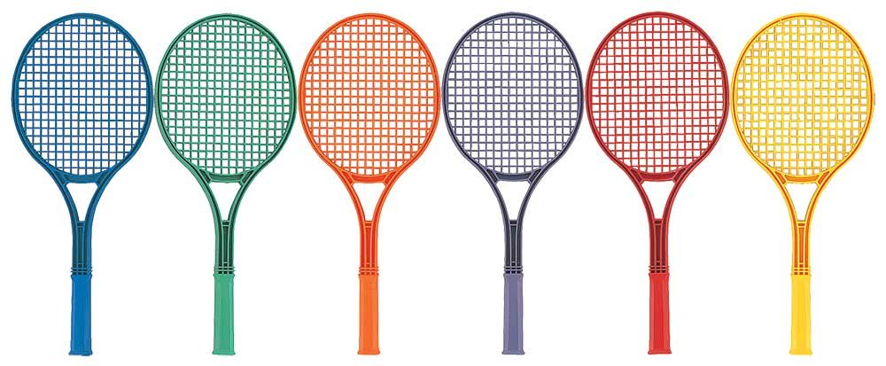 Great Lakes Sports Plastic Tennis Rackets Set of 6