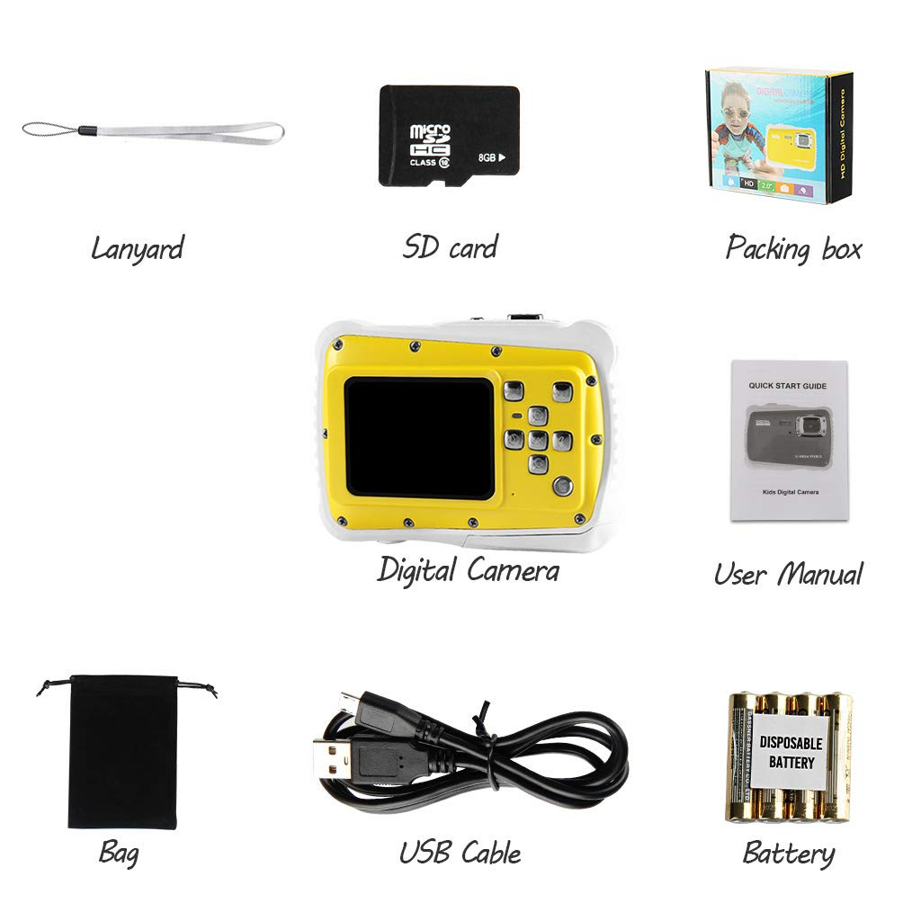 Underwater Camera for Kids, Waterproof Digital Camera Children Gift Mini Action Sport Camcorder 12MP HD/2.0 Inch LCD Display/8X Digital Zoom with 8GB SD Card & Batteries by Jamal (Image #6)