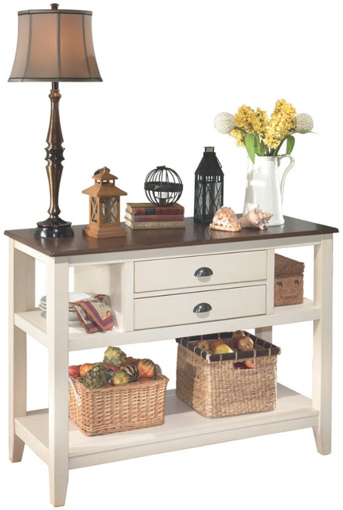 Ashley Furniture Signature Design - Whitesburg Dining Room Server - 2 Drawers and 2 Cubbies - Vintage Casual - Brown/Cottage White