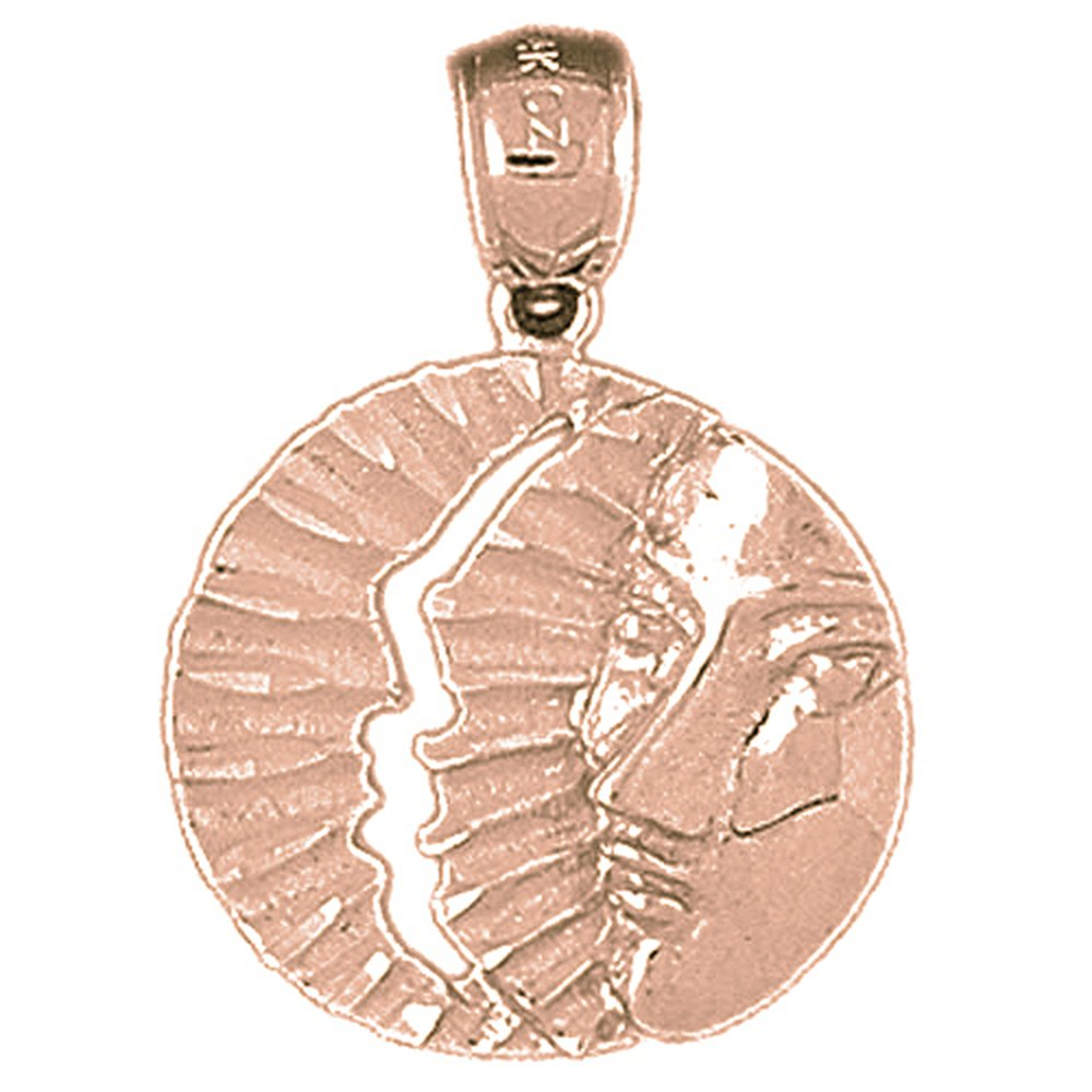 Rose Gold-plated 925 Silver 26mm Sun And Moon Pendant Necklace