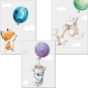Kinderposter Baby Bilder Dekoration Kinderzimmer Babyzimmer Bilder P7 3er-Set DINA4 Poster f/ür Kinderzimmer und den Bilderrahmen