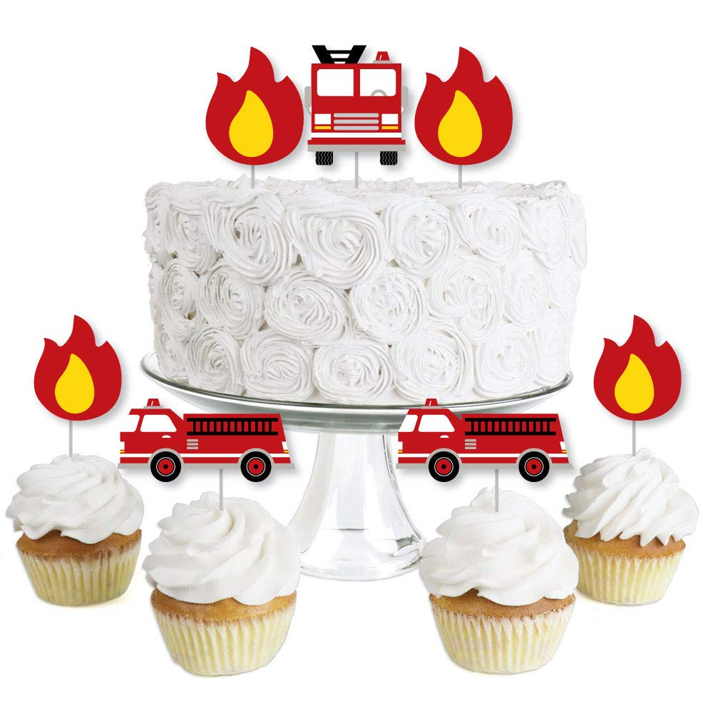 Fired Up Fire Truck - Dessert Cupcake Toppers - Firefighter Firetruck Baby Shower or Birthday Party Clear Treat Picks - Set of 24
