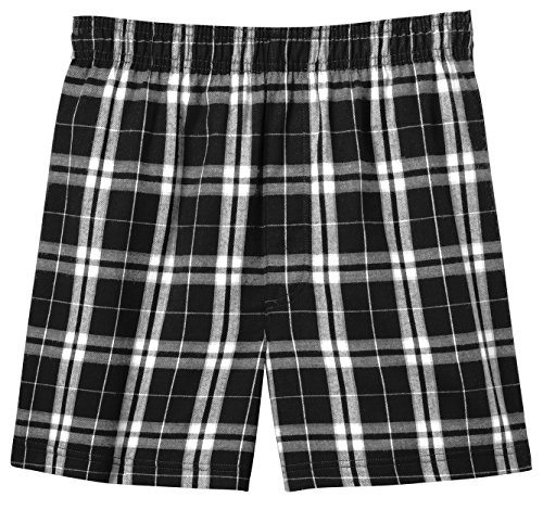 Joes USA(tm) - Mens Soft and Cozy Plaid Flannel Pajama Boxer Shorts, Black, - Flannel Boxer Shorts